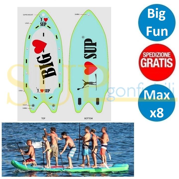 "I LOVE BIG 17'0"" sup gonfiabile stand up paddle"